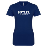 Next Level Ladies SoftStyle Junior Fitted Navy Tee-Butler University