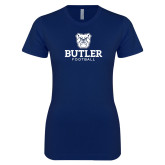 Next Level Ladies SoftStyle Junior Fitted Navy Tee--Football