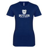 Next Level Ladies SoftStyle Junior Fitted Navy Tee--Basketball