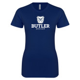 Next Level Ladies SoftStyle Junior Fitted Navy Tee--Soccer