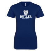 Next Level Ladies SoftStyle Junior Fitted Navy Tee--Baseball