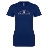 Next Level Ladies SoftStyle Junior Fitted Navy Tee---Arched Football