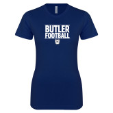 Next Level Ladies SoftStyle Junior Fitted Navy Tee---Stacked Block Football