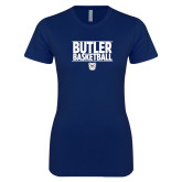 Next Level Ladies SoftStyle Junior Fitted Navy Tee---Stacked Block Basketball