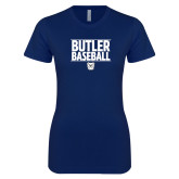 Next Level Ladies SoftStyle Junior Fitted Navy Tee---Stacked Block Baseball