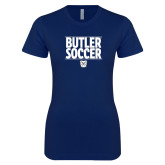 Next Level Ladies SoftStyle Junior Fitted Navy Tee---Soccer Ball Design