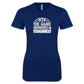Next Level Ladies SoftStyle Junior Fitted Navy Tee-The Game Honors Toughness