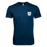Next Level SoftStyle Navy T Shirt-Bulldog Head
