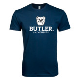 Next Level SoftStyle Navy T Shirt-Butler University Stacked Bulldog Head