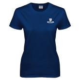 Ladies Navy T Shirt-Butler University Stacked Bulldog Head