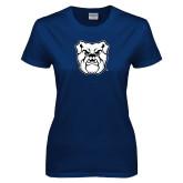 Ladies Navy T Shirt-Bulldog Head