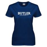 Ladies Navy T Shirt-Butler University