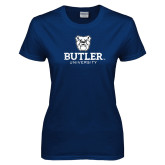 Ladies Navy T Shirt-Butler University Stacked Bulldog Head Distressed