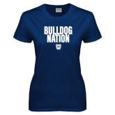 Ladies Navy T Shirt-Bulldog Nation
