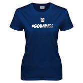 Ladies Navy T Shirt-#GoDawgs