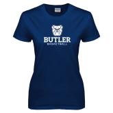 Ladies Navy T Shirt--Basketball
