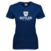 Ladies Navy T Shirt--Volleyball