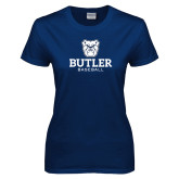 Ladies Navy T Shirt--Baseball