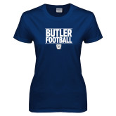 Ladies Navy T Shirt---Stacked Block Football