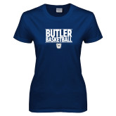Ladies Navy T Shirt---Stacked Block Basketball