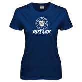 Ladies Navy T Shirt---Volleyball Ball Design