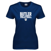 Ladies Navy T Shirt---Stacked Block Volleyball