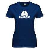 Ladies Navy T Shirt---Baseball Cap Design
