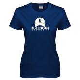 Ladies Navy T Shirt---Baseball Cap Design