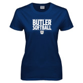 Ladies Navy T Shirt---Stacked Block Softball