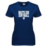 Ladies Navy T Shirt---Stacked Block Softball