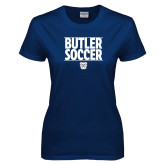 Ladies Navy T Shirt---Soccer Ball Design