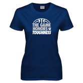 Ladies Navy T Shirt-The Game Honors Toughness