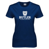 Ladies Navy T Shirt-Club Curling