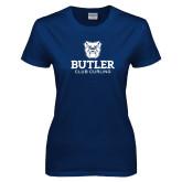 Ladies Navy T Shirt-Club Curling