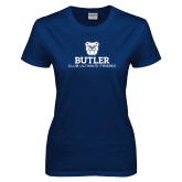 Ladies Navy T Shirt-Club Ultimate Frisbee