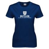 Ladies Navy T Shirt-Club Ultimate Frisbee
