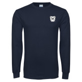 Navy Long Sleeve T Shirt-Bulldog Head