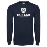 Navy Long Sleeve T Shirt-Butler University Stacked Bulldog Head