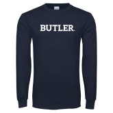 Navy Long Sleeve T Shirt-Butler