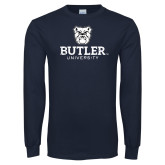 Navy Long Sleeve T Shirt-Butler University Stacked Bulldog Head Distressed