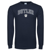 Navy Long Sleeve T Shirt-Arched Butler w Bulldog Head
