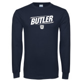 Navy Long Sleeve T Shirt-Slanted Lines