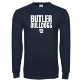 Navy Long Sleeve T Shirt-Butler Bulldogs Stacked Block Texture