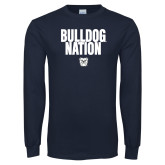 Navy Long Sleeve T Shirt-Bulldog Nation