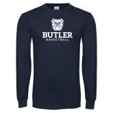 Navy Long Sleeve T Shirt--Basketball