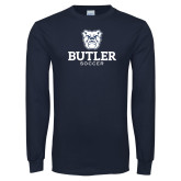 Navy Long Sleeve T Shirt--Soccer