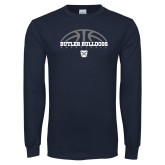 Navy Long Sleeve T Shirt---Arch Basketball Design