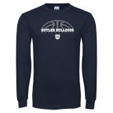 Navy Long Sleeve T Shirt---Arch Basketball Design