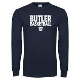Navy Long Sleeve T Shirt---Stacked Block Basketball