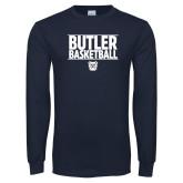 Navy Long Sleeve T Shirt---Stacked Block Basketball